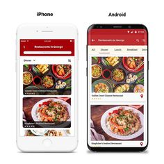 Local restaurants app: iPhone vs Android UI comparison.