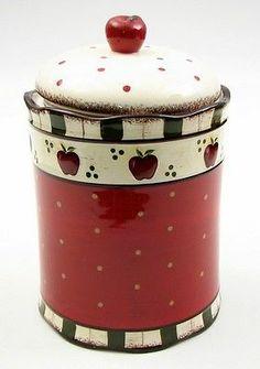 "Apple Ceramic Cookie Jar CANISTER Red, Black & White 9.5"" H. Kitchen Decor"