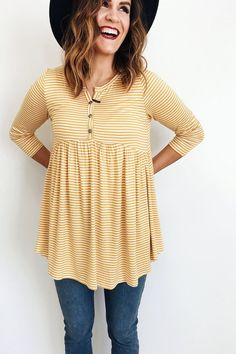 **** Love this adorable Spring outfit. Cute yellow stripe empire waist, button top detail top. Paired with this great black fedora hat. Stitch Fix Fall, Stitch Fix Spring Stitch Fix Summer 2016 2017. Stitch Fix Fall Spring fashion. #StitchFix #Affiliate #StitchFixInfluencer