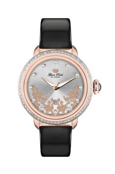 GR77005D: Rose Gold IP Stainless Steel Case Cover with Diamonds and Genuine Patent Leather Black Strap