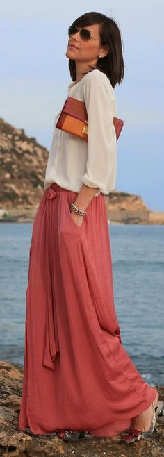Bowknot Split Maxi Skirt by Be Trench