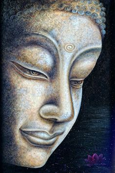 """""""Know from the rivers in clefts and in crevices: those in small channels flow noisily, the great flow silent. Whatever's not full makes noise. Whatever is full is quiet."""" ~ The Buddha ♥ lis Buddha Artwork, Buddha Wall Art, Buddha Face, Buddha Zen, Buddha Tattoos, Hindu Tattoos, Symbol Tattoos, Buda Painting, Acrilic Paintings"""