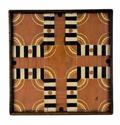 18th & 19th C. American Folk Art - Halsey Munson interesting color Old Board Games, Old Games, Game Boards, Vintage Games, Vintage Toys, Primitive Antiques, Primitive Furniture, Beauty Games, Board Game Design