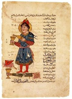 Mediæval manuscript of a machine (robot) pouring a drink. Made in #Syria c1315