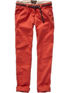 Basic red chino pants by Femmes De Paris by Maison Scotch La Femme Selon Marie, $199.95.