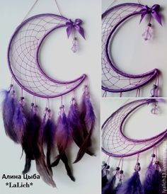 Beautiful DIY Dream Catcher to Keep Your Sweet Dreams This Summer - Decoration House Diy - Beautiful DIY Dream Catcher to keep your dreams sweet this summer - Diy Tumblr, New Crafts, Crafts To Make, Arts And Crafts, Los Dreamcatchers, Moon Dreamcatcher, Mundo Hippie, Dream Catcher Craft, Dream Catcher Patterns
