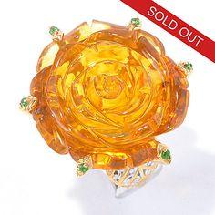 129-840 - Gems en Vogue 25mm Carved Amber Rose & Chrome Diopside Ring