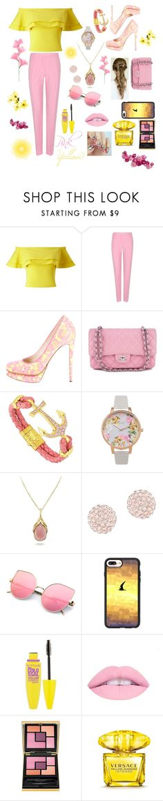 """Pink and Yellow"" by mariathomas02 ❤ liked on Polyvore featuring Miss Selfridge, Valentino, Nicholas Kirkwood, Chanel, Olivia Burton, Swarovski, Casetify, Maybelline, Yves Saint Laurent and Versace"