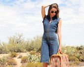 vintage 70s high waist denim jumpsuit