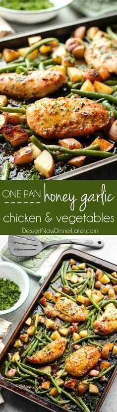 One Sheet Pan Honey Garlic Chicken and Vegetables Supper Recipe via Dessert Now Dinner Later - This one pan chicken dinner has the most delicious honey garlic glazed chicken alongside tenderly roasted potatoes and green beans. Plus it's so easy and flav Supper Recipes, Easy Dinner Recipes, Easy Meals, Easy Family Dinners, Healthy Family Meals, Sheet Pan Suppers, Honey Garlic Chicken, Healthy Garlic Chicken, Chicken And Vegetable Bake