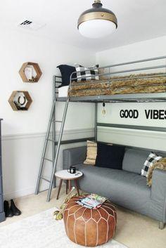 deco chambre garcon avec un message sympa ambiance sous marine en gris et blanc