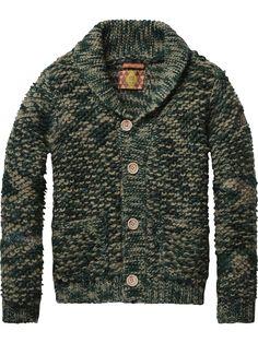 Scotch & Soda - Amsterdam Couture - Habillement, mode et bien plus encore Shawl Collar Sweater, Men Sweater, Chunky Cardigan, Sweater Fashion, Vest Jacket, Pulls, Kids Fashion, Fashion Men, Lana