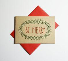 SER feliz mano cosida tarjeta de Navidad