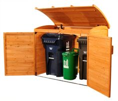 Garbage can storage shed: garbage storage. Link no longer works: it's a product from Costco that apparently they don't carry anymore. Anyone know the manufacturer? Garbage Can Storage, Garbage Shed, Plastic Storage, Outdoor Spaces, Outdoor Living, Outdoor Decor, Wood Storage Sheds, Bin Storage, Storage Ideas
