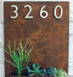 20 x 30 Rust Metal Address Plaque & Succulent Wall by UrbanMettle, $325.00