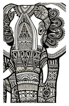 Free coloring page coloring-elephant-te-print-for-free. A magnificien elephant drawn with zentangle patterns FROM Coloring Pages for adults Elephant Art, Elephant Sculpture, Zentangle Elephant, Henna Elephant, Zentangle Animal, Elephant Doodle, Mandala Elephant, Illustration, Black And White