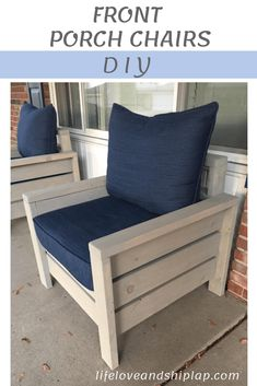 New wood patio chairs diy cushions ideas Front Porch Chairs, Front Porch Furniture, Wood Patio Chairs, Porch Table, Diy Porch, Diy Outdoor Furniture, Furniture Plans, Rustic Furniture, Diy Furniture