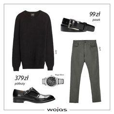 Jesień nadchodzi wielkimi krokami! Czarny, wełniany sweter świetnie komponuje się z klasycznymi spodniami w szarym kolorze i modnymi półbutami Wojas Dopełnieniem stylizacji jest skórzany pasek i zegarek.