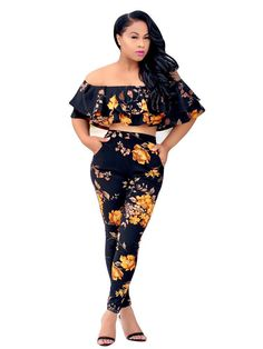 Sexy Off Shoulder Ruffled Crop Top Leggings Pants Black 2 Piece Floral Jumpsuit