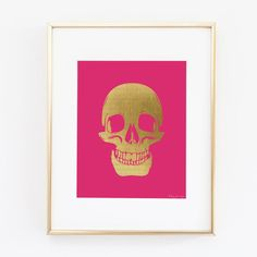 Gold Skull Art Print Gold Skull with Hot Pink by PennyJaneDesign