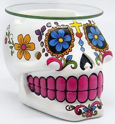Handcrafted Sugar Skull Aroma Lamp, Day Of the Dead, Dia De Los Muertos, Skull Lamp by TheTOIStore on Etsy https://www.etsy.com/listing/254463967/handcrafted-sugar-skull-aroma-lamp-day
