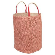 Check out this item at One Kings Lane! Loomed Basket, Red Diamond
