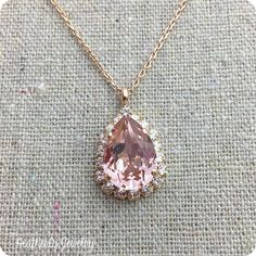 Swarovski Crystal Blush Pink Faux Diamond Halo Teardrop