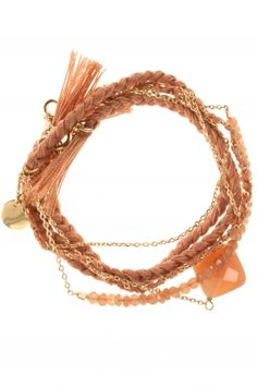 peach & gold #wrap #bracelet I designed by au fil de lo I NEWONE-SHOP.COM