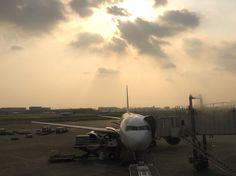 夕陽の中の機体