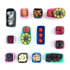 Bento Cups   Square + Rectangle   The Organised Housewife Tapas, Kids Rewards, Dark Home Decor, Cute Bento, Little Lunch, Frozen Yoghurt, Bento Box Lunch, Chocolate Molds, Food Art