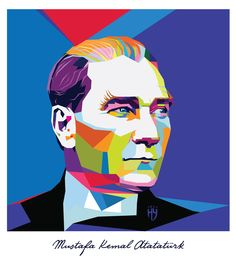 MUSTAFA KEMAL ATATÜRK Pour Painting, Stencil Painting, Painting Lessons, Art Lessons, Pop Art Illustration, Pop Art Design, Arte Popular, Beginner Painting, Diy Art