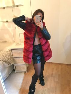 "Short faux fur vest ""Rosa"" in beautiful wine-red color. #womenoutfits #outfitoftheday #outfitideas Wine Red Color, Faux Fur Vests, Outfit Of The Day, Fur Coat, Clothes For Women, Jackets, Outfits, Beautiful, Fashion"