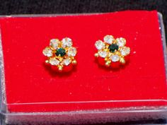Indian Bollywood floral 7 stone tops/ vintage/ Gold plated/Ethnic earrings SJPT2 #lakimanu #Stud