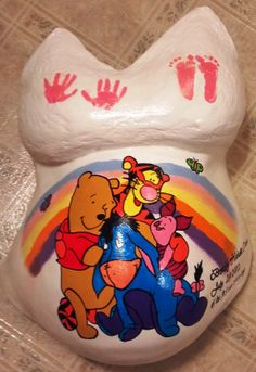 Winnie the Pooh & friends belly cast Pregnant Belly Cast, Pregnant Belly Painting, Pregnancy Art, Pregnancy Belly, Baby Pictures, Baby Photos, Bump Painting, Belly Casting, Body Cast
