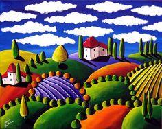 folk art landscapes - Buscar con Google