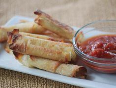 Baked Mozzarella sticks using Won Ton wrappers