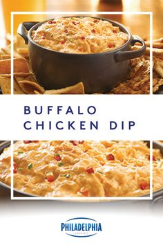 No one wants to spend the day slaving away in the kitchen. With just three easy steps and ten minutes of prep, this Buffalo Chicken Dip is your go-to party accessory. **FYI-try it with some Kraft cheese with Philadelphia cream cheese melt in it**! Baked Buffalo Chicken Dip, Chicken Dips, Chicken Recipes, Cheesy Chicken, Appetizer Recipes, Dinner Recipes, Dip Recipes, Simply Recipes, Yummy Appetizers