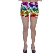 Multicolored Floral Swirls Skinny Shorts by dflcprintsclothing Skinny Shorts, Swirls, Floral, Design, Fashion, Moda, Fashion Styles, Flowers