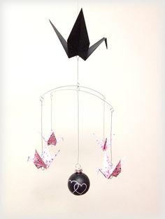 Origami Mobile. Kawaii Black & Pink Good by FlyingCraneOrigami