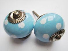 118 Porseleinen kastknop , blauw met witte stippen deurknoppen