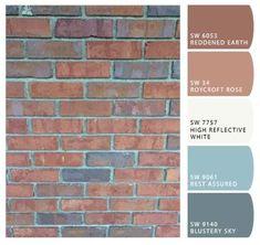 Paint color help for orange brick ranch Diy Exterior Brick, Red Brick Exteriors, House Exterior Color Schemes, Brick Interior, Exterior Paint Colors For House, Paint Colors For Home, Exterior Colors, Orange Brick Houses, Brick Ranch Houses