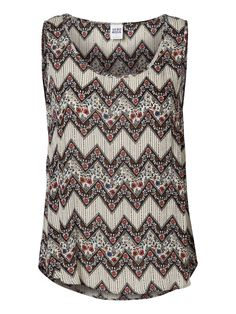 PRINTED SLEEVELESS TOP, Oatmeal
