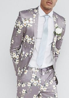 ASOS TALL Wedding Super Skinny Blazer In Grey Floral Print from ASOS (men, style, fashion, clothing, shopping, recommendations, stylish, menswear, male, streetstyle, inspo, outfit, fall, winter, spring, summer, personal)