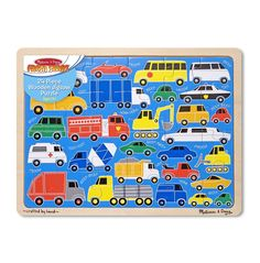 900619557f Melissa & Doug 24 Piece Beep Beep Cars and Trucks Wooden Jigsaw Puzzle With  Storage Tray