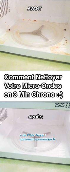 Il existe une astuce géniale pour nettoyer votre micro-ondes avec du vinaigre blanc et de la vapeur ! Cette technique est non seulement super facile, mais en plus elle nettoie votre micro-ondes en profondeur et en un rien de temps !  Découvrez l'astuce ici : http://www.comment-economiser.fr/technique-la-plus-facile-pour-nettoyer-micro-ondes.html?utm_content=buffer685de&utm_medium=social&utm_source=pinterest.com&utm_campaign=buffer