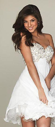 Embellished White Chiffon Sleeveless Short Empire Prom Dresses In Stock tkzdresses455848f #shortdress #homecomingdresses