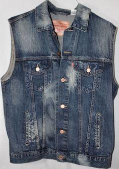 Levis Sleeveless Jean Trucker Jacket Distressed Denim Wash Men Large #Levis #JeansTrucker