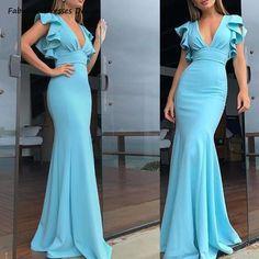 Short Sleeve Prom Dresses, Formal Dresses With Sleeves, Backless Prom Dresses, Formal Dresses For Women, Dressy Dresses, Cheap Evening Dresses, Mermaid Evening Dresses, Rosa Mendes, Classy Dress