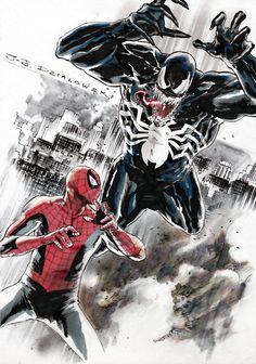 (Spider-Man vs Venom Commission) By: J. Marvel Comics Superheroes, Marvel Comic Books, Marvel Art, Comic Book Characters, Comic Books Art, Dc Comics, Book Art, Spider Man Vs Venom, Rogue Comics
