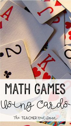 Math Games Using Playing Cards Math Games with Playing Cards: Perfect way to make math concepts fun for the upper elementary grades.Math Games with Playing Cards: Perfect way to make math concepts fun for the upper elementary grades. Free Math Games, Math Card Games, Dice Games, Math Resources, Math Activities, Therapy Activities, Math Night, Elementary Math, Upper Elementary